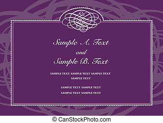 Vector swirl frame with sample text. Perfect as invitation or announcement. All pieces are separate. Easy to change colors.