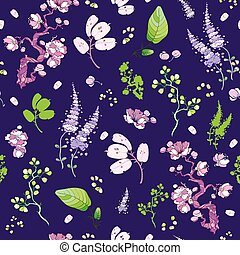 Vector Purple Green Japanese Kimono Floral Seamless Pattern