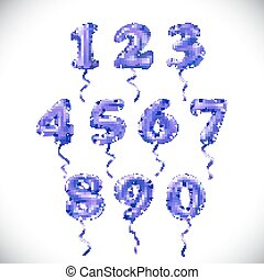 vector Purple number 1, 2, 3, 4, 5, 6, 7, 8, 9, 0 metallic balloon. Party decoration golden balloons. Anniversary sign for happy holiday, celebration, birthday, carnival, new year.