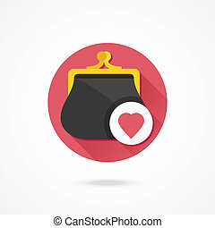 Vector Purse and Heart Shape Icon