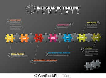 Vector puzzle Infographic timeline template