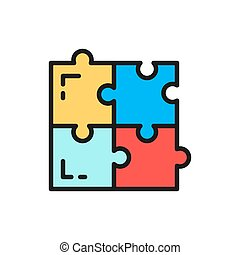Vector puzzle, simple solutions, compatibility flat color line icon.