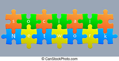 Vector puzzle social network. Eps10 illustration