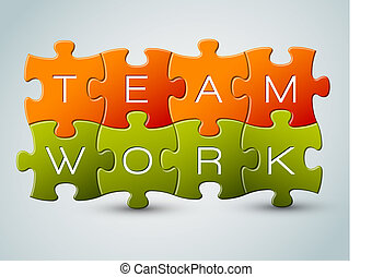 Vector puzzle teamwork illustration - orange and green
