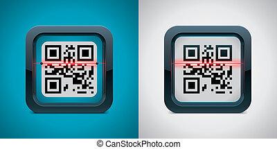 Vector QR code scanner icon - Square icon representing QR...