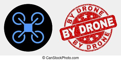 Vector Quadcopter Icon and Scratched By Drone Stamp Seal