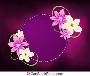 vector:, quadro, saudação, revista, desenho, convite, flores, cartões