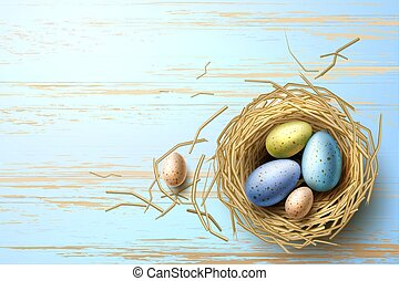 Vector quail, chicken eggs in nest easter holiday