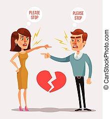 vector, quarrel., hombre, caricatura, plano, pareja, ilustración, caracteres, mujer