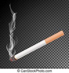 vector., queimadura, realístico, clássicas, isolado, cigarro, experiência., fumaça, fumar, transparente, illustration.