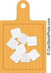 vector, queso, de madera, feta, tabla, plano, aislado