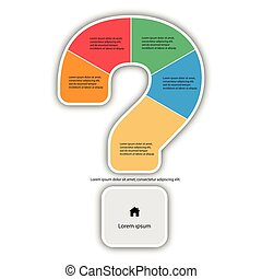 Vector Question Mark Infographic report template made from lines and icons