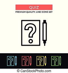 Vector quiz icon. Questionnaire, test, exam concepts. Premium quality graphic design. Modern signs, outline symbols, simple thin line icons set