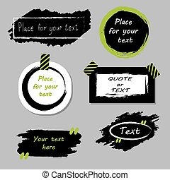 Vector quote boxes collection. Hand drawn frames, square, rectangle and round speech bubbles. Grunge brush strokes texture.