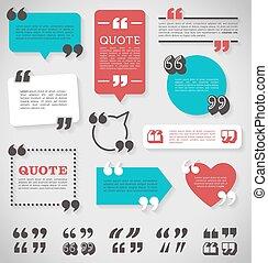 vector quote decoration labels set