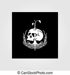 vector, raíz, cráneo, ilustración, naturaleza, diseño, vendimia