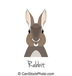 vector rabbit head isolated. Flat style, cartoon object