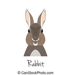 vector rabbit head isolated. Flat style, cartoon object