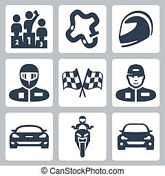 Vector race icons: podium, track, helmet, racer in helmet,...