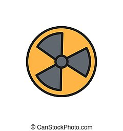 Vector radiation sign, radioactive warning flat color line icon.