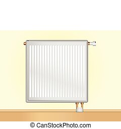 Vector Radiator on beige wall. Editable Vector Illustration