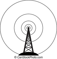 vector radio tower broadcast