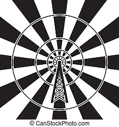 vector illustration of radio tower broadcast