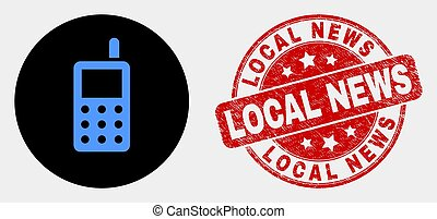 Vector Radio Transmitter Icon and Scratched Local News Stamp