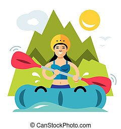 Woman with an oar in an inflatable boat. Isolated on a white background