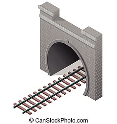 Vector railway low-poly tunnel, isometric 3d perspective. Old stone building.
