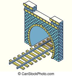 Vector railway low-poly tunnel, isometric 3d perspective. Outlined old stone building