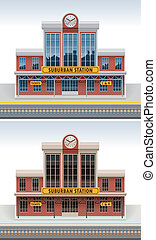 Vector railway station icon - Detailed old railway station...