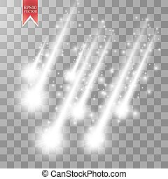 Vector rain comets isolated on transparent background. Lights. Magic concept. Vector white glitter wave abstract illustration. White star dust trail sparkling particles isolated. Vector