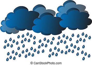 vector rain - rain - clouds and water drop on gray...
