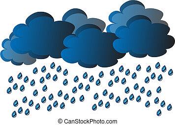 vector rain - rain - clouds and water drop on gray...