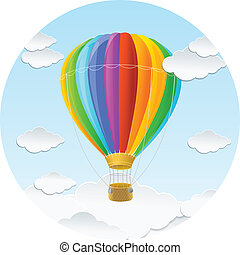 Vector rainbow air ballon and clouds icon