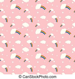 Vector rainbow and clouds seamless pattern