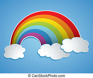 vector rainbow and clouds