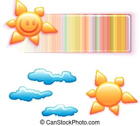 Vector rainbow banner with smiley sun and some clouds