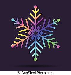Vector rainbow Christmas holographic snowflake