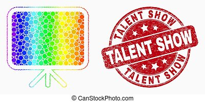Vector Rainbow Colored Dot Banner Board Icon and Grunge Talent Show Stamp