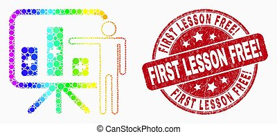 Vector Rainbow Colored Dot Bar Chart Presentation Icon and Scratched First Lesson Free! Seal