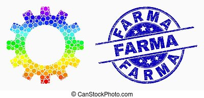 Vector Rainbow Colored Dot Gearwheel Icon and Distress Farma Watermark
