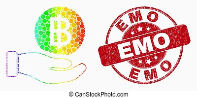 Vector Rainbow Colored Dot Hand Offer Bitcoin Icon and Distress Emo Watermark