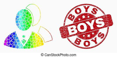Vector Rainbow Colored Dot Managers Icon and Grunge Boys Stamp