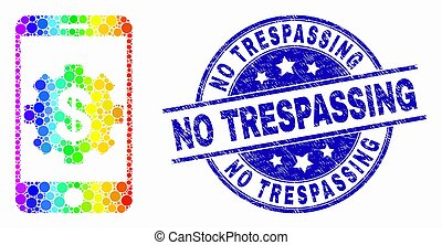 Vector Rainbow Colored Dot Mobile Bank Settings Icon and Grunge No Trespassing Stamp Seal