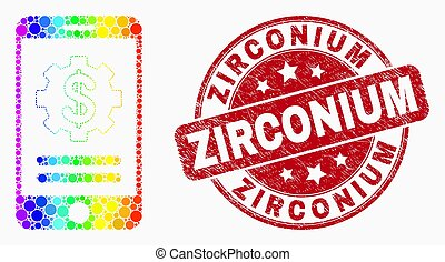 Vector Rainbow Colored Dot Mobile Financial Options Icon and Distress Zirconium Stamp