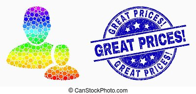 Vector Rainbow Colored Dot User Manager Icon and Scratched Great Prices! Watermark