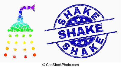 Vector Rainbow Colored Dot Water Shower Icon and Scratched Shake Stamp Seal
