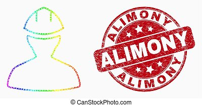 Vector Rainbow Colored Dot Worker Icon and Scratched Alimony Stamp